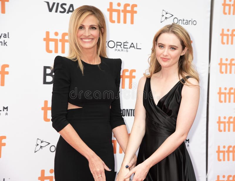 Julia Roberts and Kathryn Newton at premiere of Ben Is Back at tiff2018. Toronto international film festival is yearly festival with the top films and movie royalty free stock images