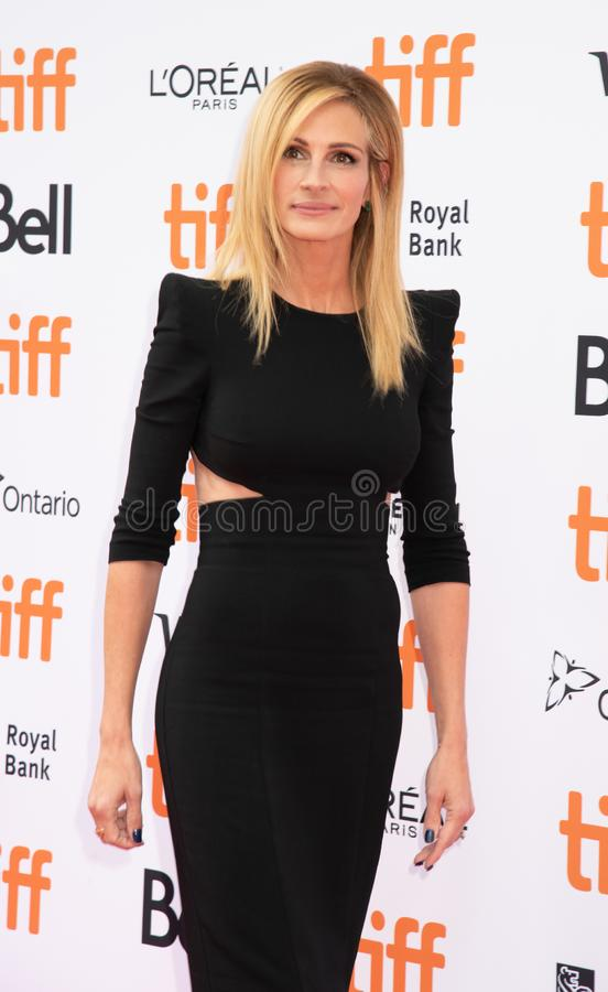 Julia Roberts at premiere of Ben Is Back at toronto international film festival. Pretty Woman star and Erin Brocovich, verz beautiful actress promoting her royalty free stock images