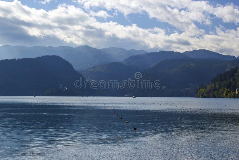 Julian Alps - Panorama um den See geblutet, Slowenien lizenzfreies stockfoto