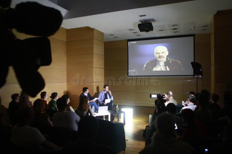 Julian Assange conference stock images