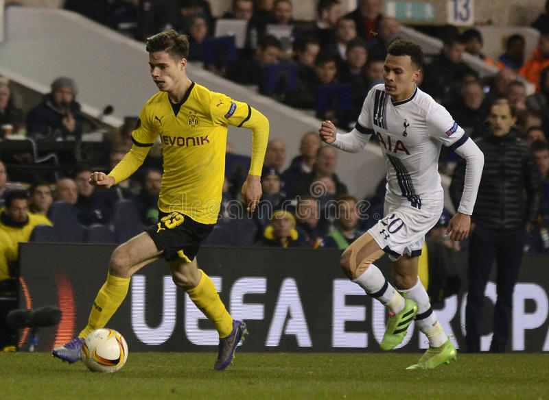 Julian Weigl and Dele Alli. Football players pictured during UEFA Europa League round of 16 game between Tottenham Hotspur and Borussia Dortmund on March 17 royalty free stock images