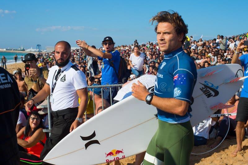 Julian Wilson Pro Surfer-de concurrentie royalty-vrije stock afbeeldingen