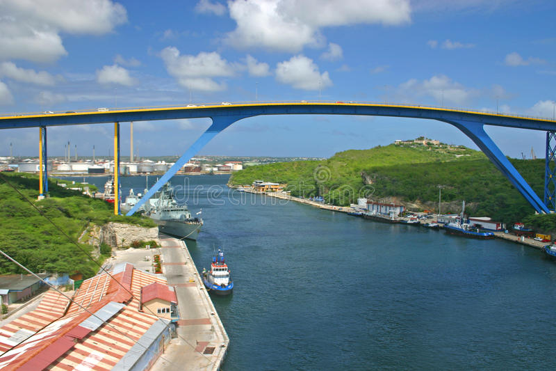 Juliana Bridge, Curacao. The tall Juliana Bridge in Willemstad, Curacao stock photography