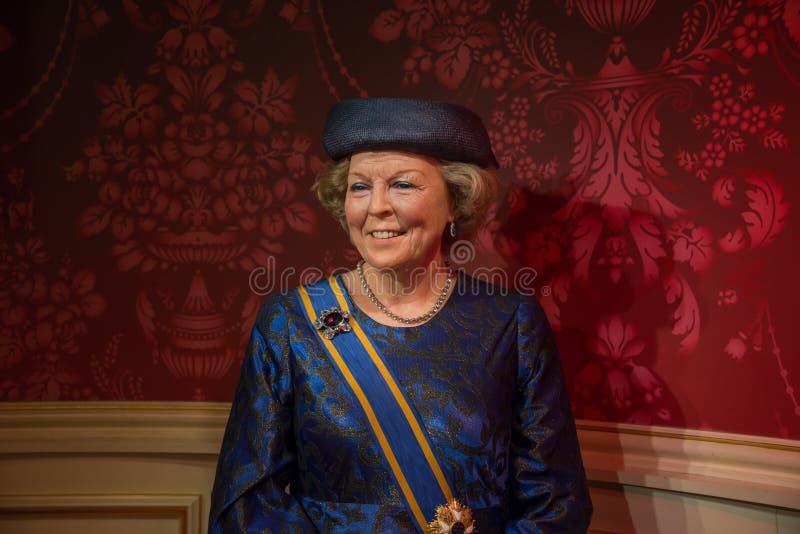 Juliana Louise Emma Marie Wilhelmina i museet för madam Tussauds i Amsterdam royaltyfria bilder