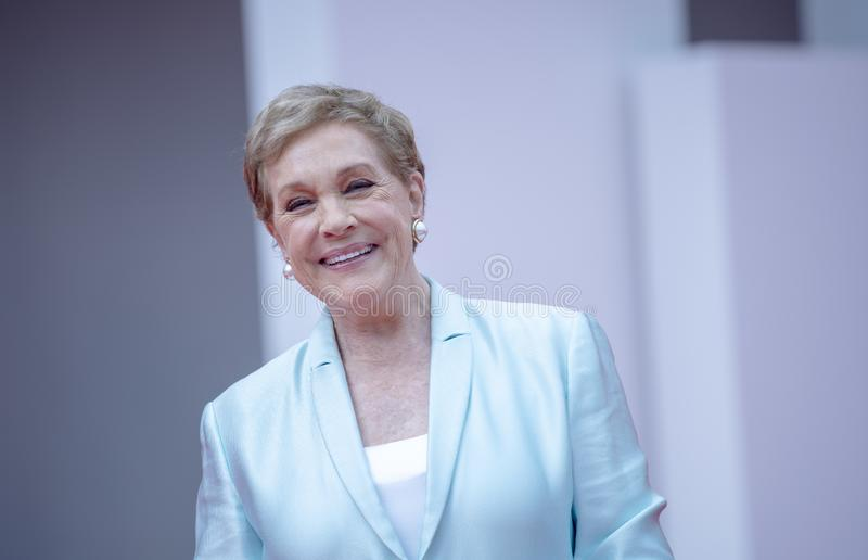 Julie Andrews arrives to be awarded the Golden Lion. For Lifetime Achievement during the 76th Venice Film Festival at Sala Grande on September 02, 2019 in royalty free stock photography