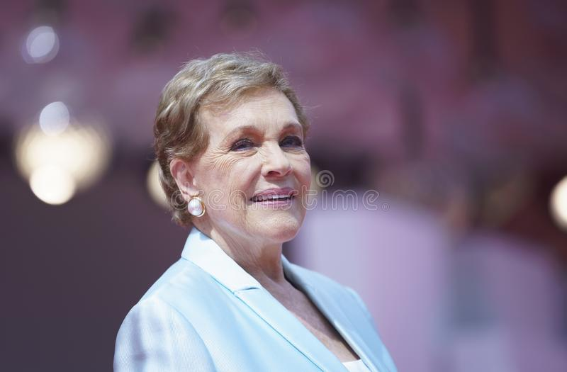 Julie Andrews arrives to be awarded the Golden Lion. For Lifetime Achievement during the 76th Venice Film Festival at Sala Grande on September 02, 2019 in royalty free stock images