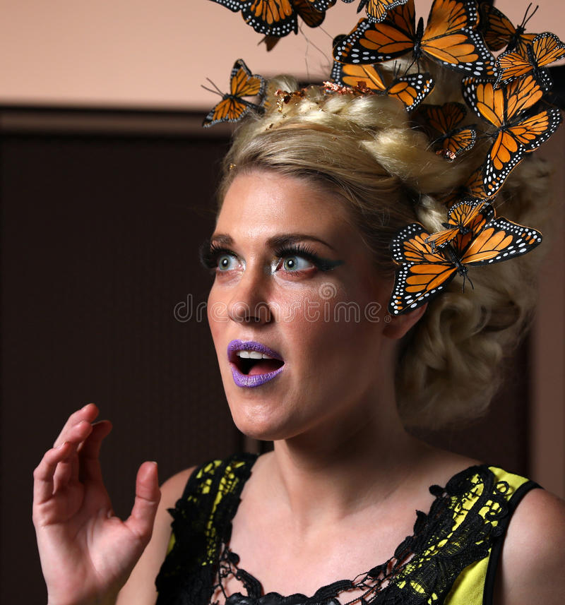 Free Julie Ernes - Creative Butterfly Hair Styling !! Stock Image - 83683451