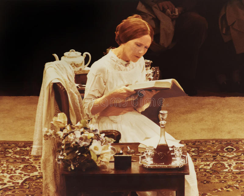 Julie Harris. Seen here playing the role of poet Emily Dickinson, In a Chicago (ca. 1981) touring production of The Belle of Amherst, was lauded as the first royalty free stock photo