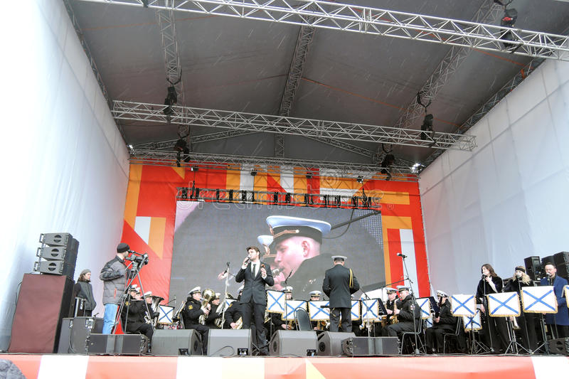 Julien Dassin performs at Victory Day celebration in Moscow stock photo
