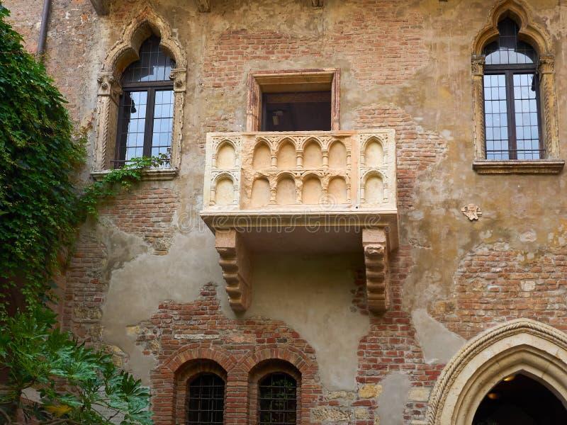Juliet`s Balcony, Verona, Italy stock images