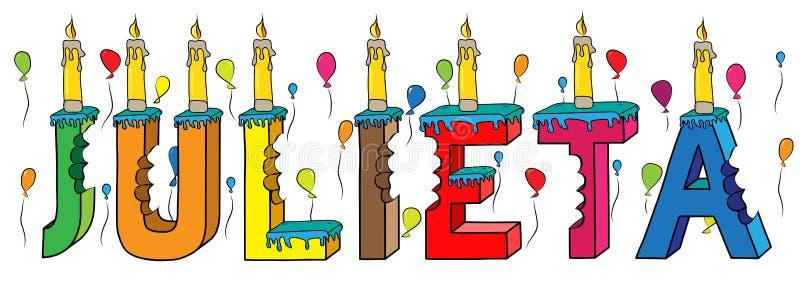 Julieta θηλυκό κέικ γενεθλίων ονόματος δαγκωμένο ζωηρόχρωμο τρισδιάστατο γράφοντας με τα κεριά και τα μπαλόνια ελεύθερη απεικόνιση δικαιώματος