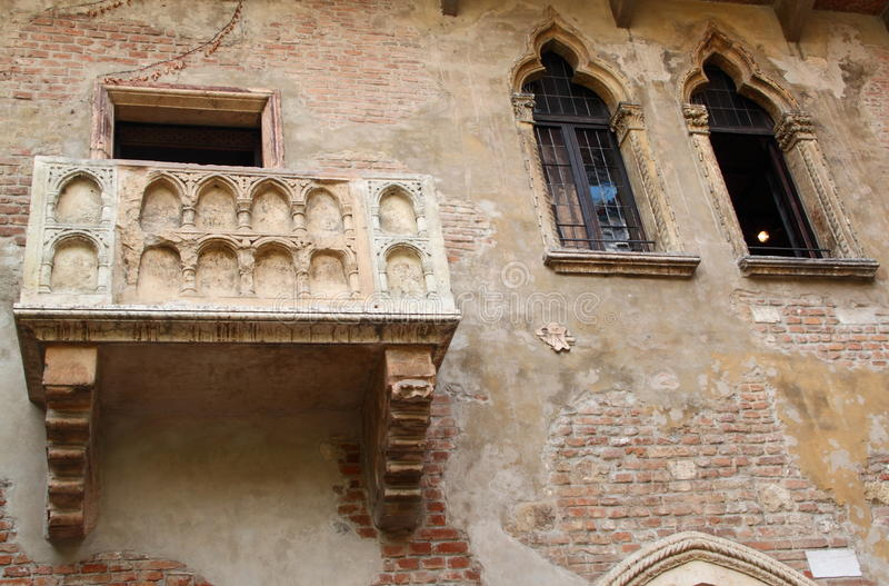 Juliets Balkon (Verona, Italien) stockfotos