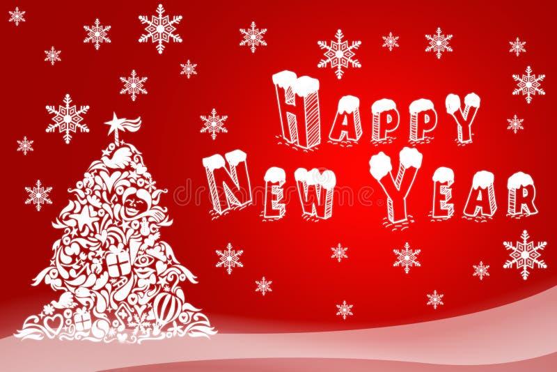Julillustration av ett feriekort Hand-dragen bild av det lyckliga nya året Festliga reklamblad för hälsningkort, logoer, shoppar royaltyfri illustrationer