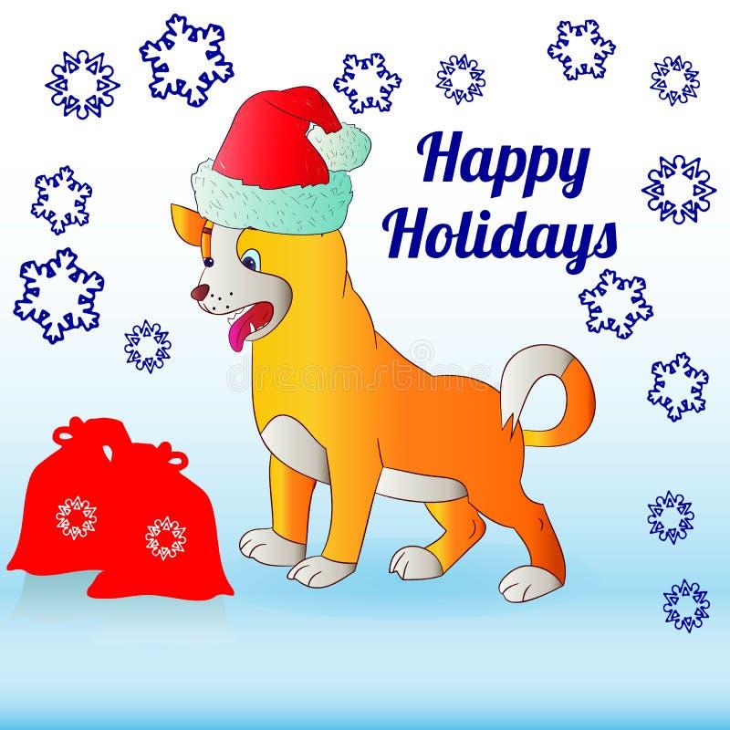 Julillustration, gul hund i den Santa Claus hatten, tecknad filmnolla royaltyfri illustrationer