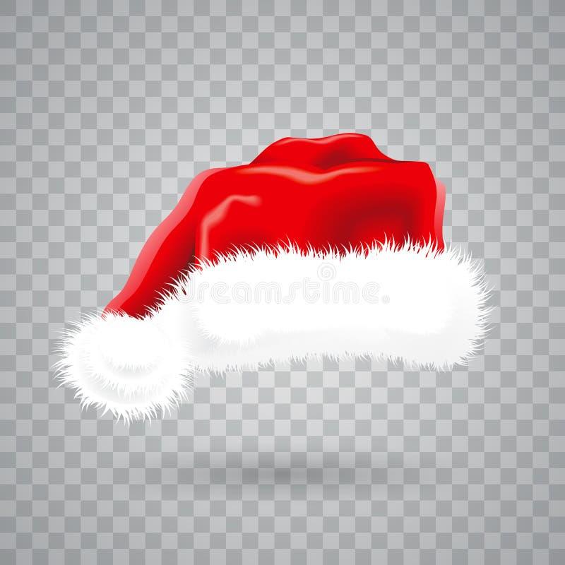 Julillustration med den röda santa hatten på genomskinlig bakgrund isolerat vektorobjekt vektor illustrationer