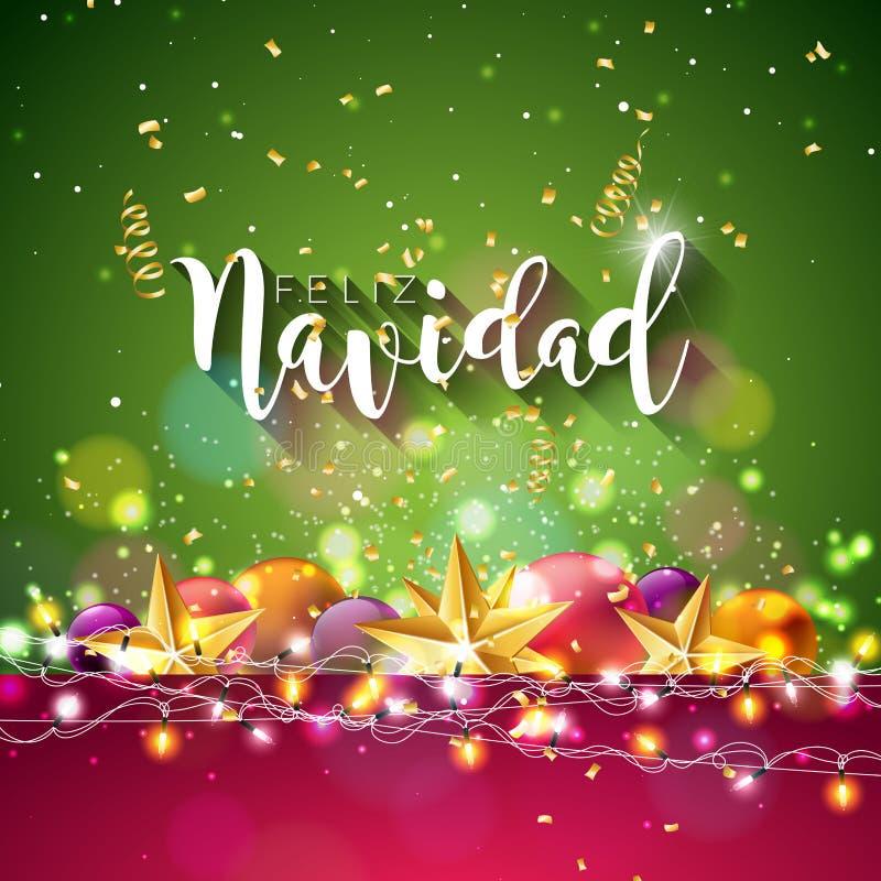 Julillustration med den spanska stjärnan för Feliz Navidad Typography och guldutklipppapper, dekorativ boll på skinande blått vektor illustrationer