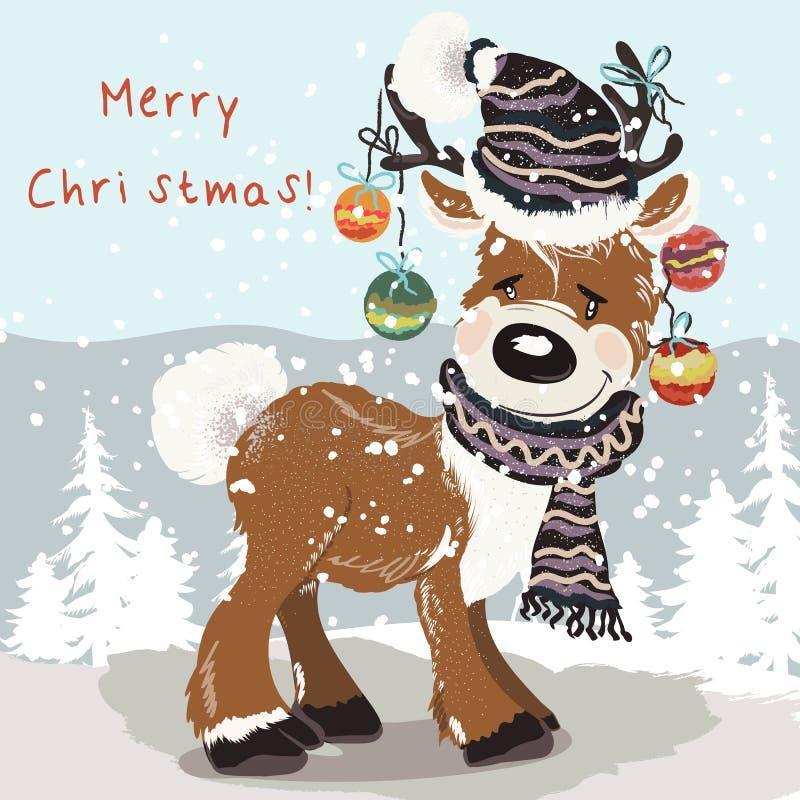 Julillustration med gulliga hjortar i hatten, halsduk mellan snö stock illustrationer