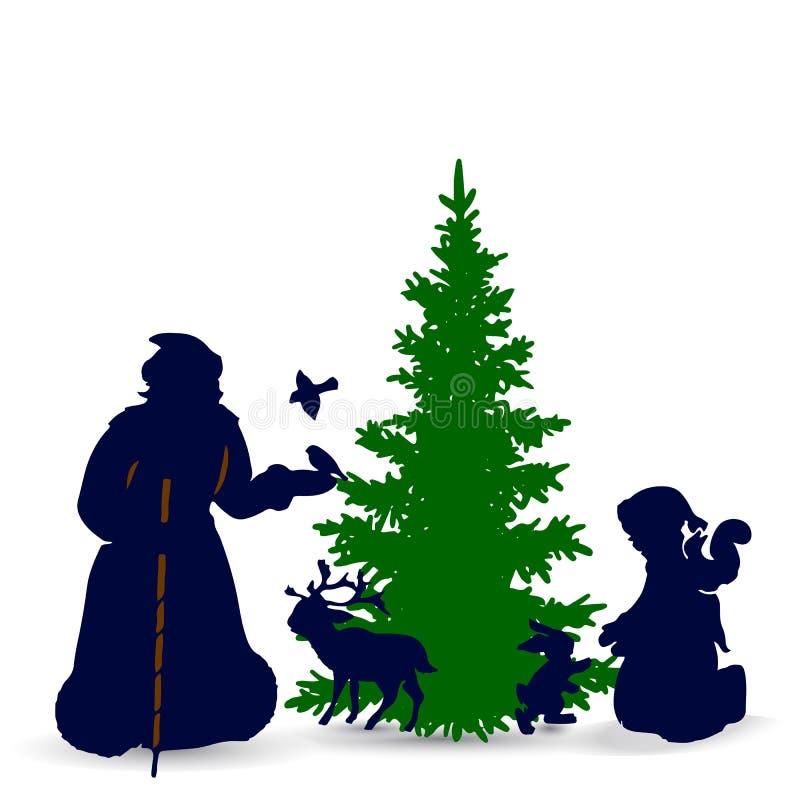 Julillustration, Santa Claus med djur i skogen, kontur på vit bakgrund, royaltyfri illustrationer