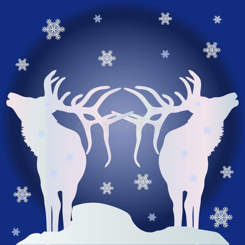 Julillustration, två vita konturer av nordliga hjortar vektor illustrationer