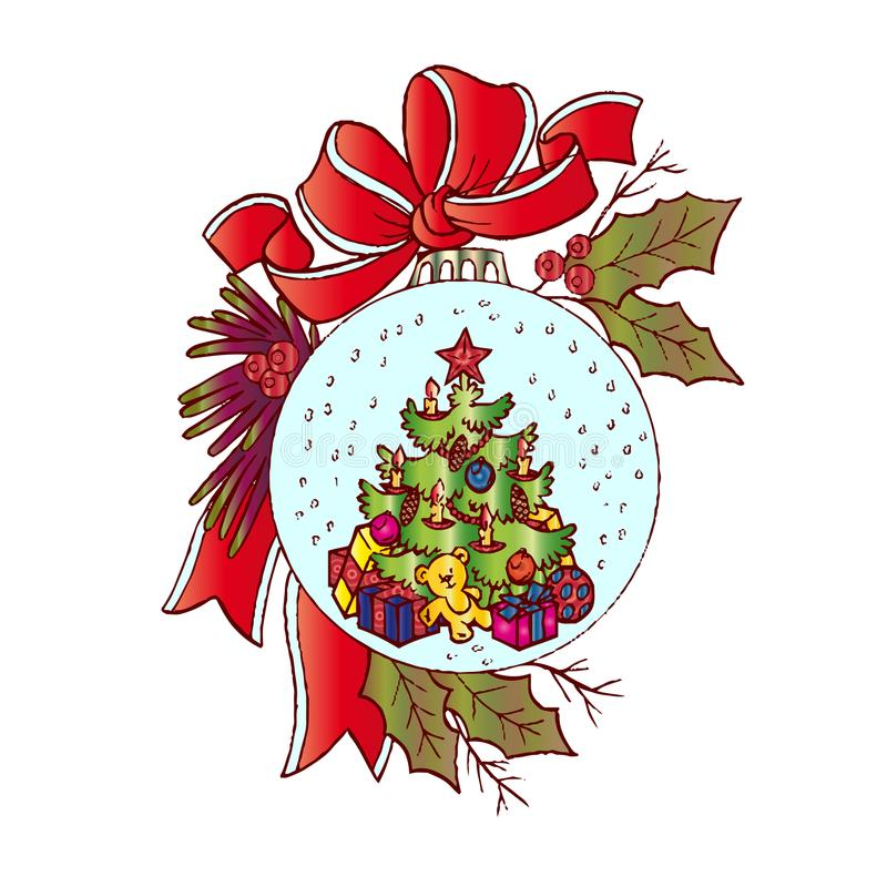 Julillustrationen, leksaken för julträd, dekorerade beautifully, tecknade filmen på vit bakgrund, vektor illustrationer