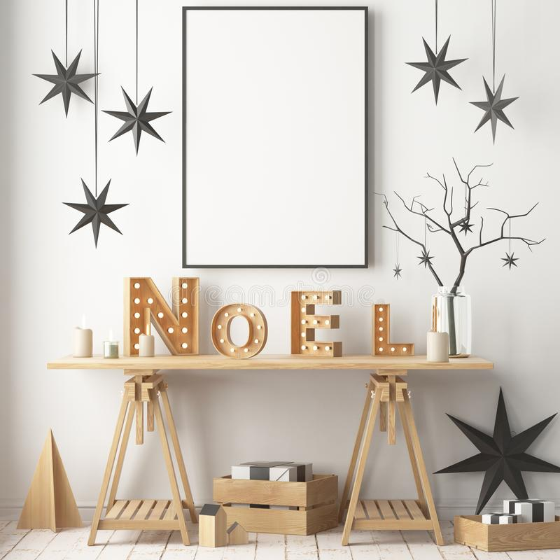 Julinre som dekoreras i skandinavisk stil framförande 3d illustration 3d vektor illustrationer
