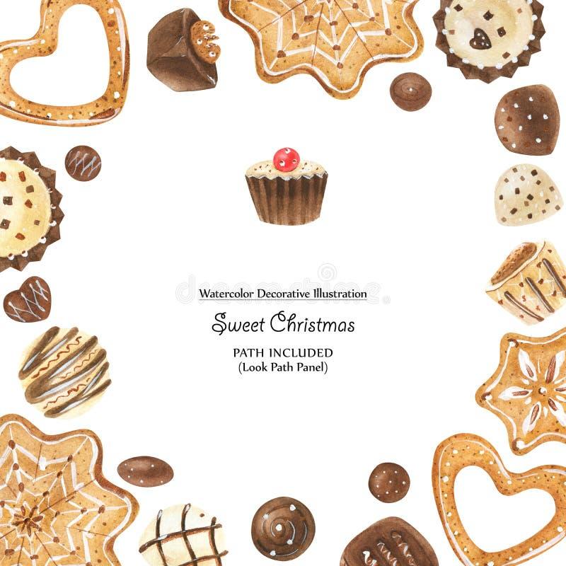 Julinstagramram med choklader och pepparkakor royaltyfri illustrationer