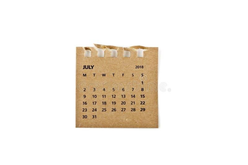 julio Hoja del calendario en blanco imágenes de archivo libres de regalías