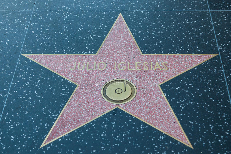 Julio Iglesias Hollywood Star arkivbild