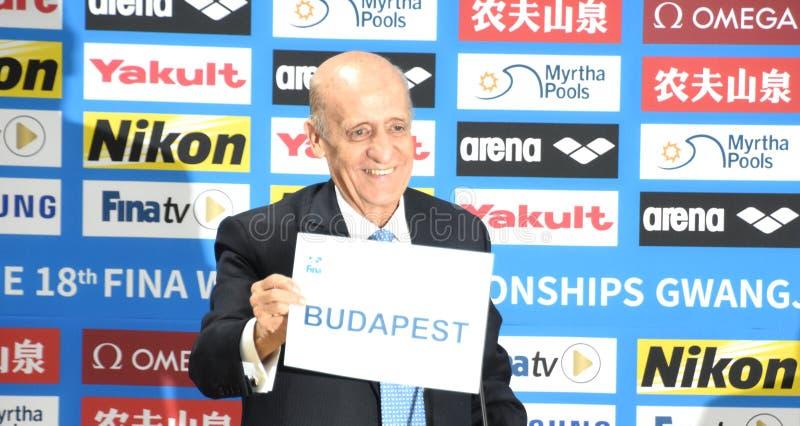 Julio Maglione prezydent FINA przedstawia imię Budapest obrazy royalty free