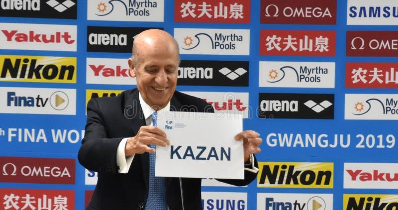 Julio Maglione prezydent FINA przedstawia imię Kazan fotografia royalty free
