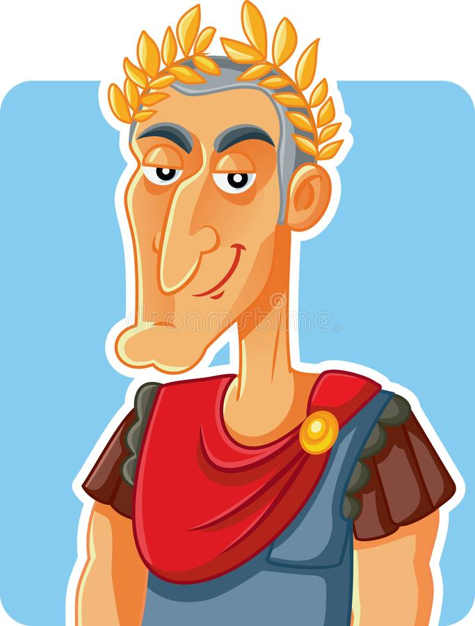 Julius Caesar Roman Emperor Vector Caricature royaltyfri illustrationer