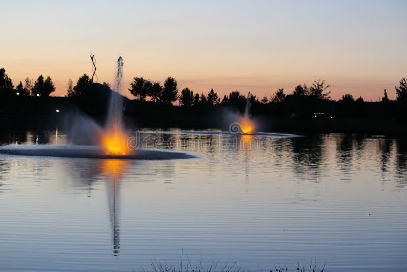 Julius M Kleiner Memorial Park på skymning royaltyfria foton