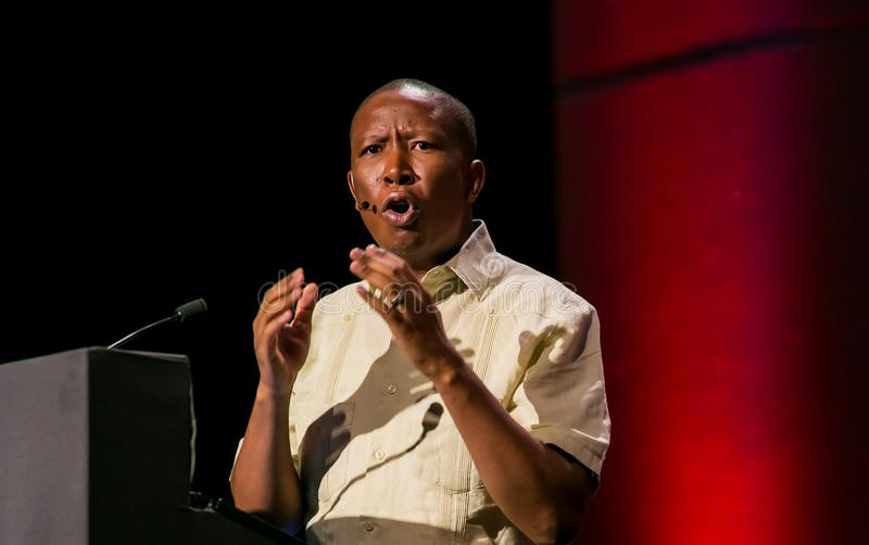 Julius Malema ledare av de ekonomiska frihetskämparna för EFF royaltyfria bilder
