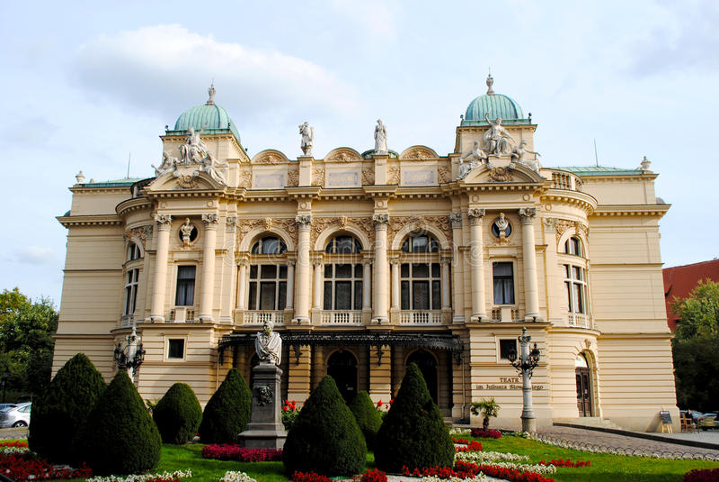 Juliusz Slowacki Theater in Krakau, Polen lizenzfreie stockfotografie