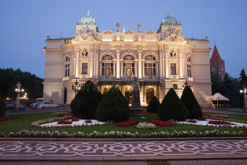 Juliusz Slowacki Theatre nocą w Krakow zdjęcie stock