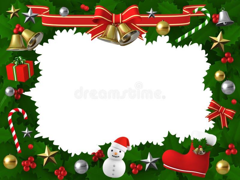 Juljärnekram med dekoren, illustration 3D royaltyfri illustrationer