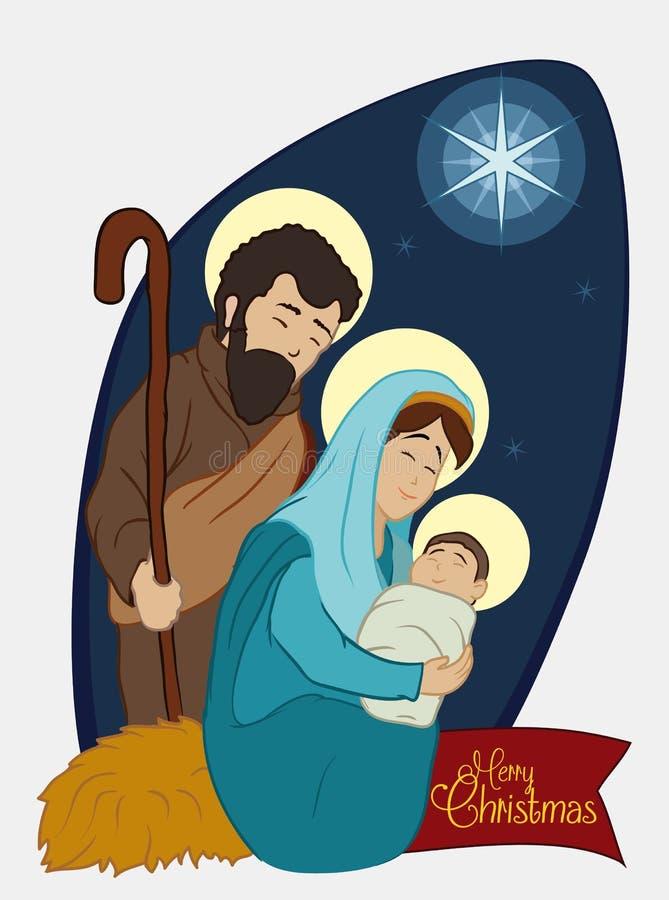 Juljulkrubba med den heliga familjen under stjärnaljuset, vektorillustration royaltyfri illustrationer