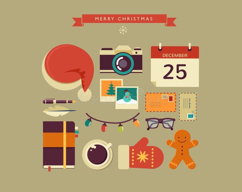 Juljultomten design för vektor för lägenhet för skrivbord royaltyfri illustrationer