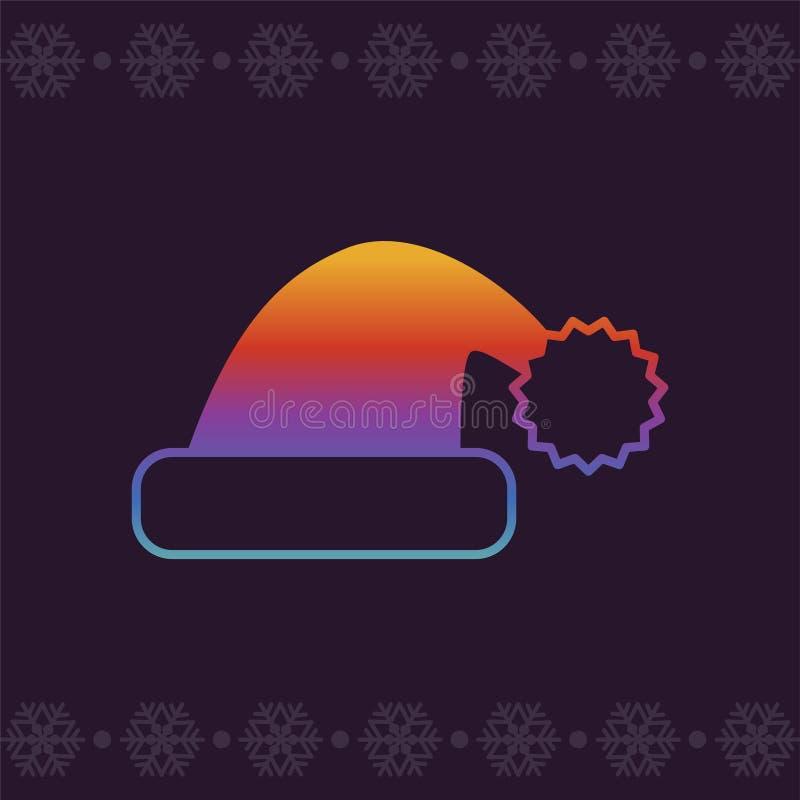 Juljultomtenhatt colors modernt Linje konstvektorsymbol i ljusa krimskramslutningar för apps och websites greeting lyckligt nytt  royaltyfri illustrationer