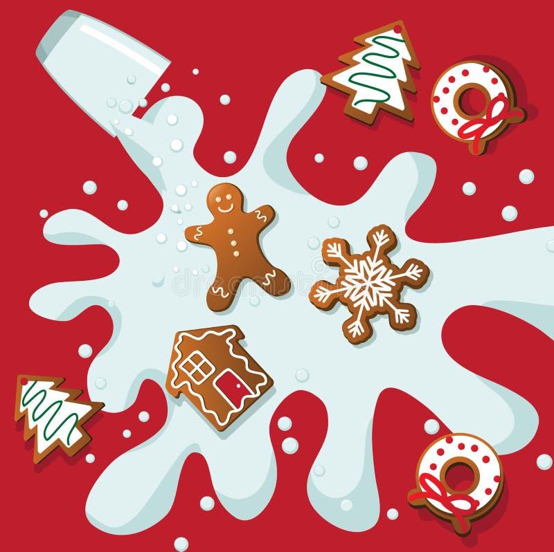 Julkakor och mjölkar färgstänk vektor illustrationer