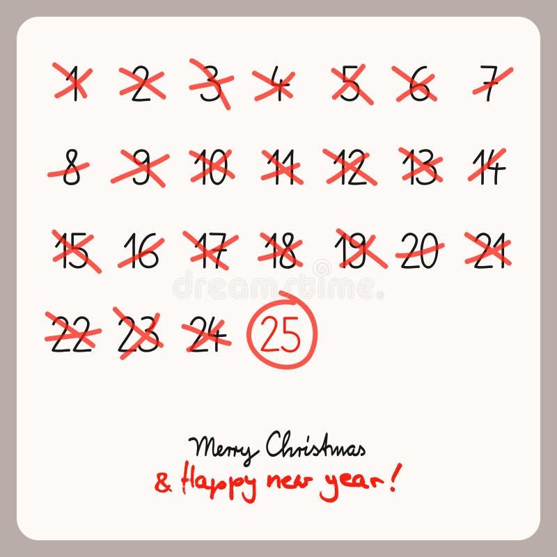 Julkalender - mall för juldesign stock illustrationer