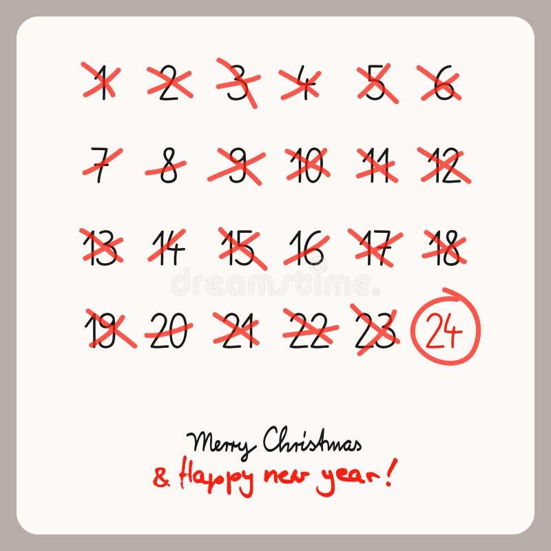 Julkalender - mall för juldesign royaltyfri illustrationer