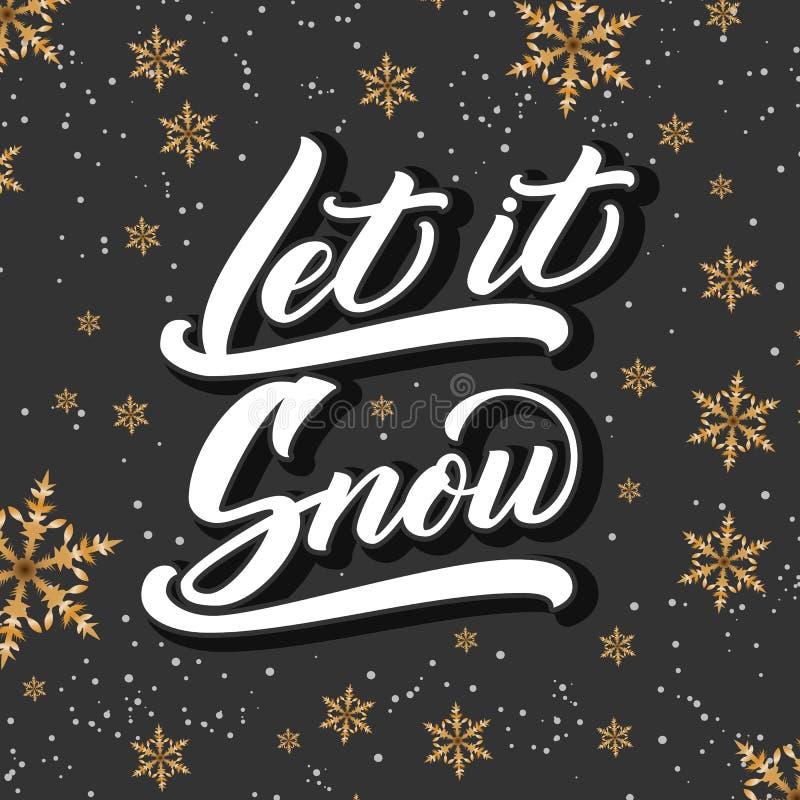 Julkalligrafi Handen dragen bokstäver lät den snöa på mörk bakgrund med guld- snöflingor Borstekalligrafi stock illustrationer