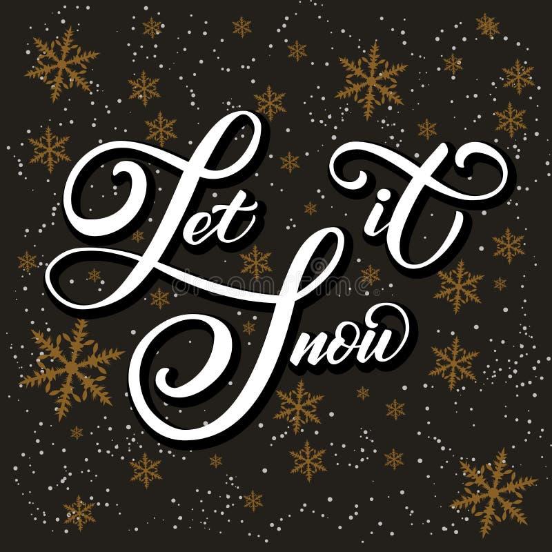 Julkalligrafi Handen dragen bokstäver lät den snöa på mörk bakgrund med guld- snöflingor Borstekalligrafi royaltyfri illustrationer