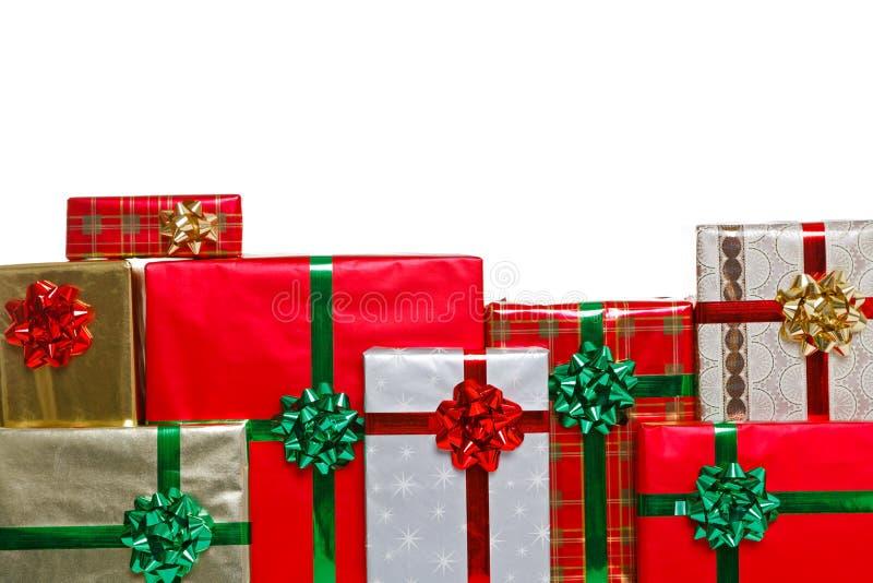 Julklapp fäller ned ramen fotografering för bildbyråer