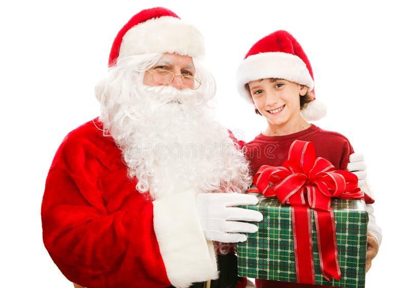 Julklapp från jultomten royaltyfria bilder
