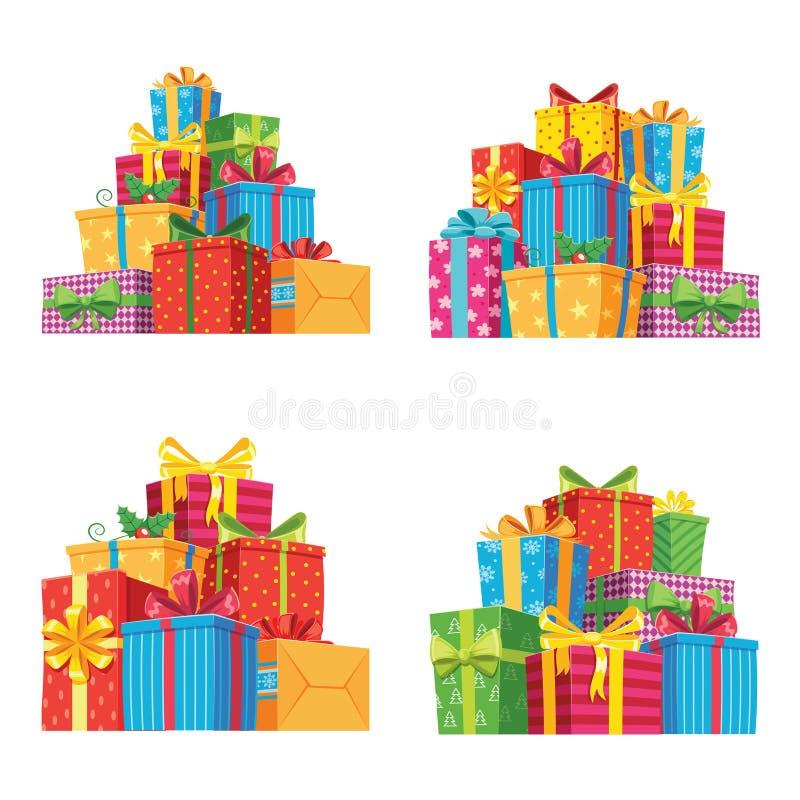 Julklappar i gåvaaskar Asken för födelsedaggåva, xmas-gåvor traver den isolerade vektorillustrationen royaltyfri illustrationer