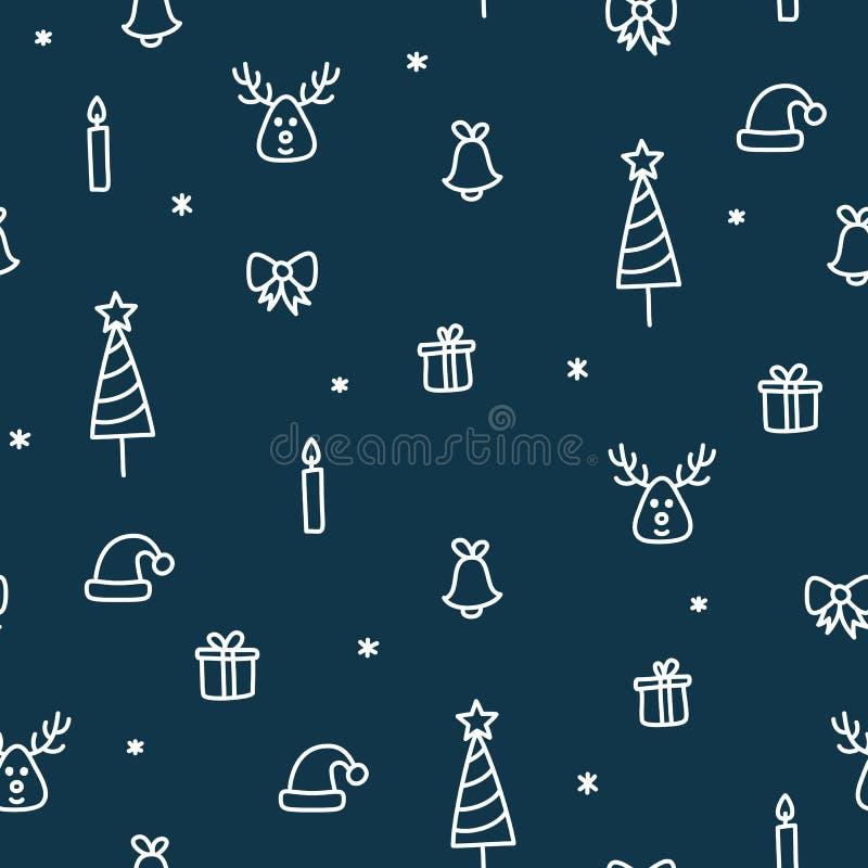 Julklappar och klotter för sömlös modell för träd, för ren och för stearinljus gulligt royaltyfri illustrationer