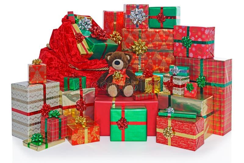 Julklappsäck och gåvor. royaltyfria bilder