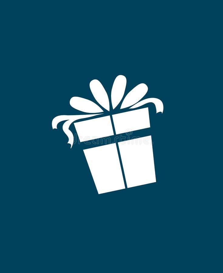 Julklappsymbol över blå bakgrund Plan symbol Ren design gears symbolen stock illustrationer
